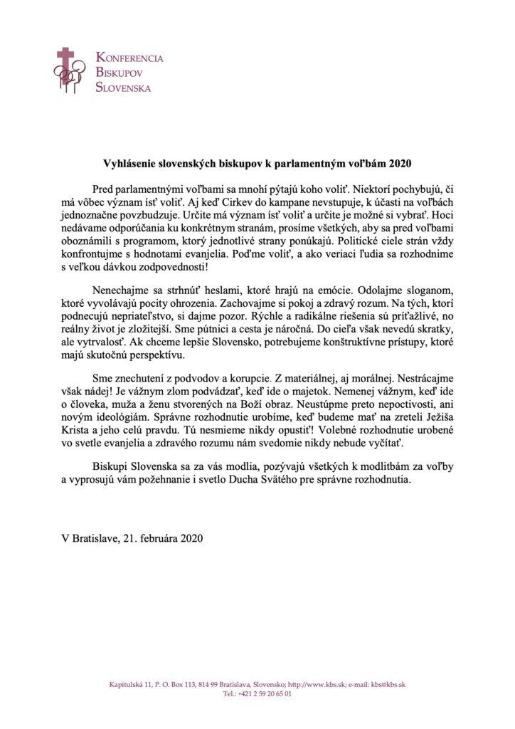 Vyhlásenie biskupov Slovenska k voľbám